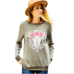 Tops - Olive Floral Bull Head Sweatshirt Pullover Small